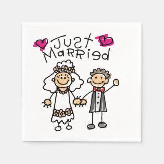 Just Married Bride Groom Paper Napkin