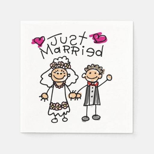 Just Married Bride Groom Disposable Napkin