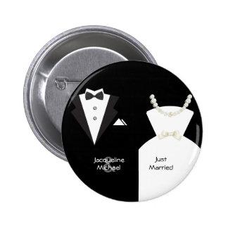 Just Married Bride Groom Wedding Pins