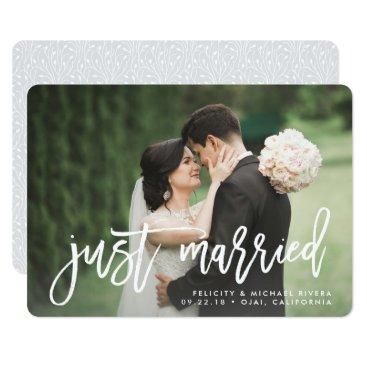 RedwoodAndVine Just Married | Brush Lettered Wedding Announcement