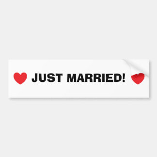 """Just Married"" Bumper Sticker Car Bumper Sticker"