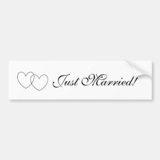 """Just Married!"" Bumper Sticker Car Bumper Sticker"
