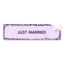 JUST MARRIED bumper sticker royal purple