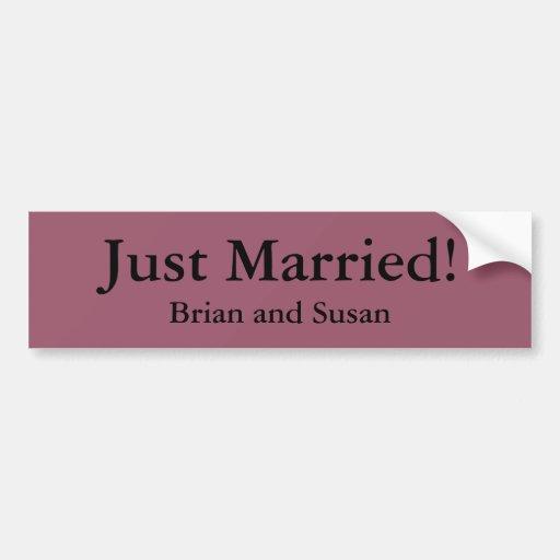 Just Married! Bumper Sticker Template Car Bumper Sticker
