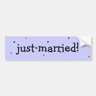 """just married!"" bumper sticker with hearts car bumper sticker"
