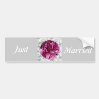Just Married Bumper Sticker with Pearls & Pink Flo