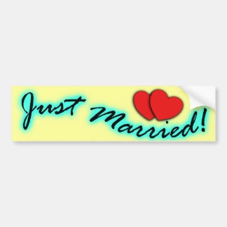 Just Married! Bumper Stickers For Newlyweds Cars