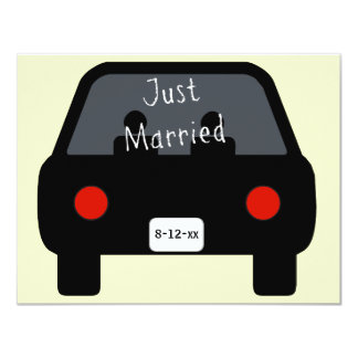 Just Married Car 4.25x5.5 Paper Invitation Card