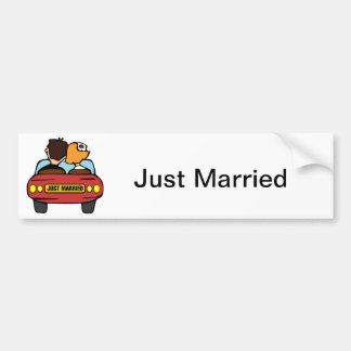 Just Married Car and Couple Bumper Sticker