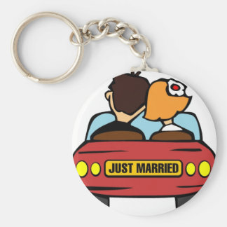 Just Married Car and Couple Keychain