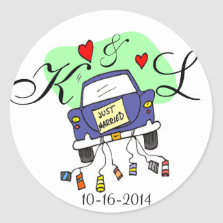 Just Married Car Classic Round Sticker