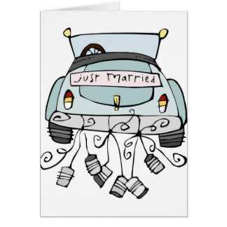 Just married car dragging cans card