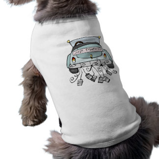 Just married car dragging cans doggie tshirt