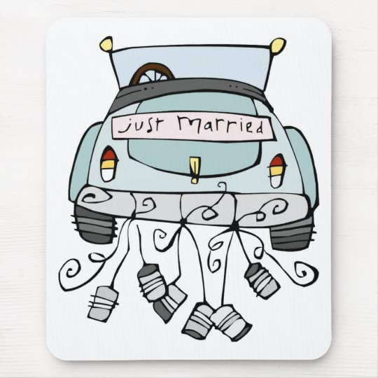 Just married car dragging cans mouse pad