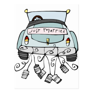 Just married car dragging cans postcard