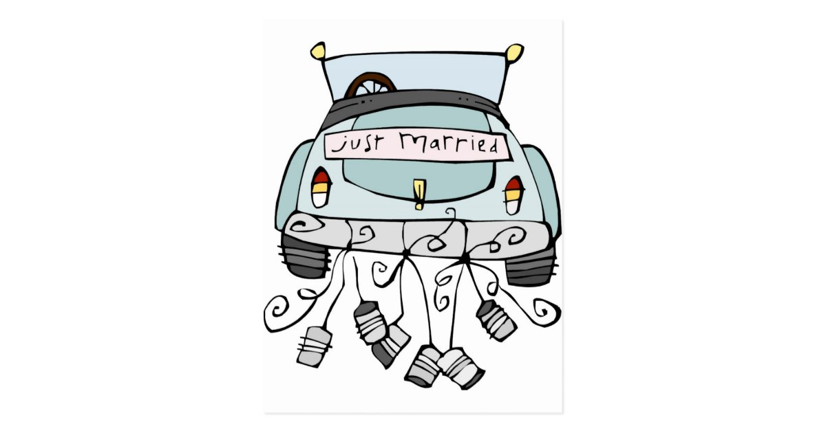 Just Married Car Dragging Cans Postcard Zazzle Com
