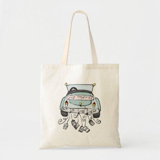 Just married car dragging cans tote bag