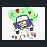 "Just Married Car Photo Print<br><div class=""desc"">Just married car complete with cans!  Perfect for weddings.  Initials and dates can be changed</div>"