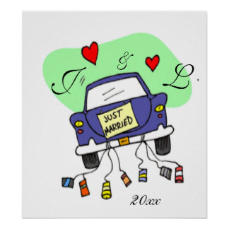 Just Married Car Poster
