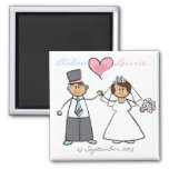 Just Married! Cartoon Wedding Couple Announcement 2 Inch Square Magnet
