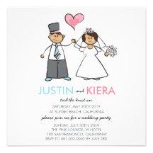 Just Married Cartoon Wedding Couple Announcement Announcement