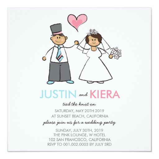 Just Married Cartoon Wedding Couple Announcement 5.25