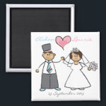 """Just Married! Cartoon Wedding Couple Announcement Magnet<br><div class=""""desc"""">Designed by fat*fa*tin. Easy to customize with your own text,  photo or image. For custom requests,  please contact fat*fa*tin directly. Custom charges apply.  www.zazzle.com/fat_fa_tin www.zazzle.com/color_therapy www.zazzle.com/fatfatin_blue_knot www.zazzle.com/fatfatin_red_knot www.zazzle.com/fatfatin_mini_me www.zazzle.com/fatfatin_box www.zazzle.com/fatfatin_design www.zazzle.com/fatfatin_ink</div>"""