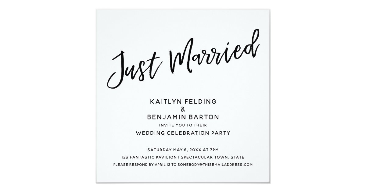 Just Married Casual Handwriting Wedding Reception Invitation Zazzle Com