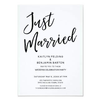 """""""Just Married"""" Casual, Modern Wedding Reception Card"""