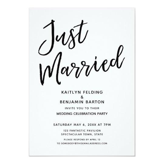 Just Married Casual Modern Wedding Reception Invitation