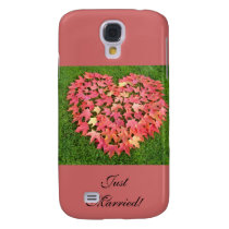Just Married Cell Phone Case HTC Vivid Heart Leaf