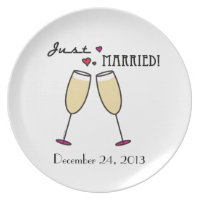 Just Married Champagne Toast Dinner Plate