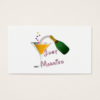 Just Married Champagne Wedding Toast Business Card