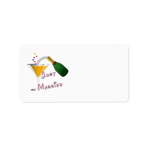 Just Married Champagne Wedding Toast Personalized Address Label