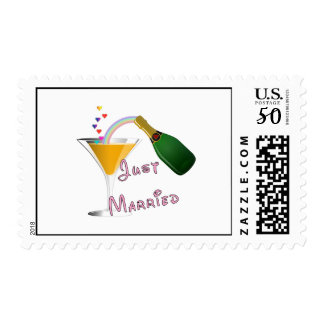 Just Married Champagne Wedding Toast Postage