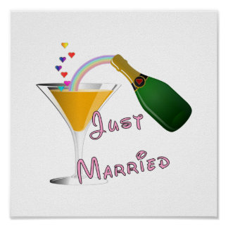 Just Married Champagne Wedding Toast Poster