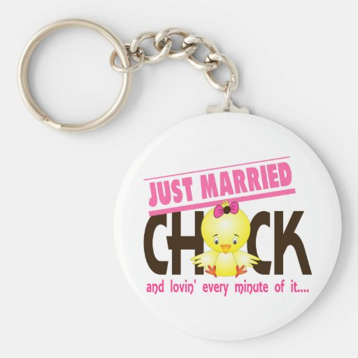 Just Married Chick Key Chains