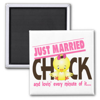 Just Married Chick 2 Inch Square Magnet