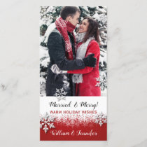 Just Married Christmas Photo Holiday Card