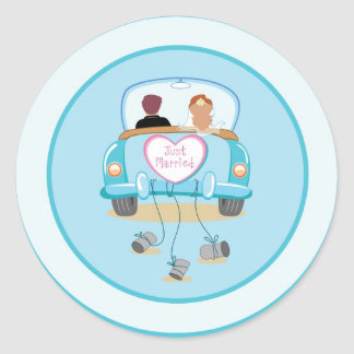 Just Married Classic Car Wedding Envelope Seal Classic Round Sticker
