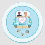 Just Married Classic Car Wedding Envelope Seal Round Sticker