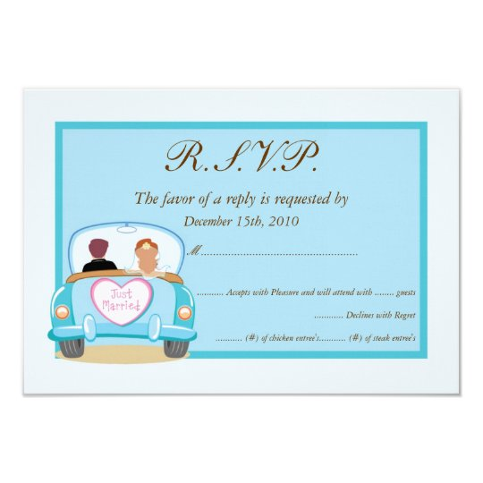 Just Married Classic Car Wedding RSVP Card