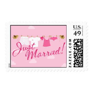 Just Married Clothes Line Postage