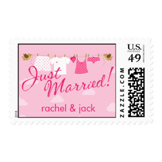 Just Married Clothes Line Stamp