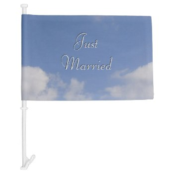 Just Married Clouds Car Flag