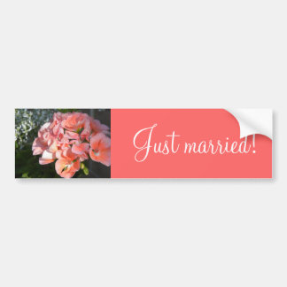 Just married coral geraniums car bumper sticker