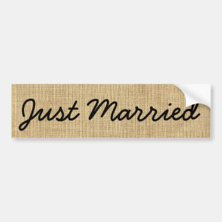 Just Married Country Rustic Burlap Black and Brown Bumper Sticker