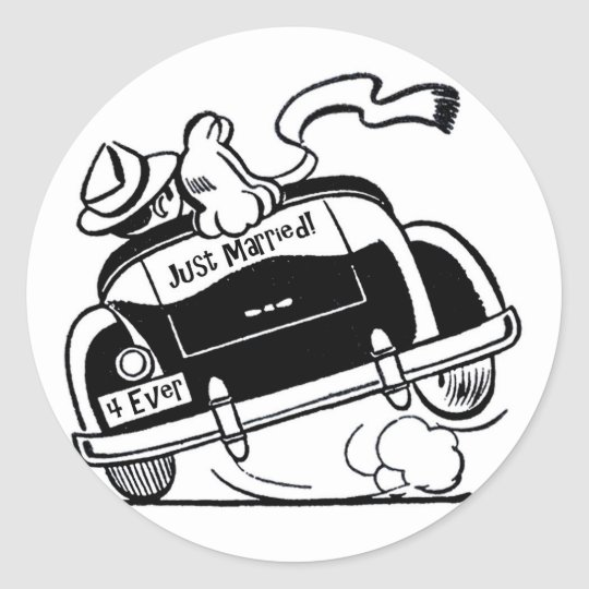 hurst stickers zazzle Yards Hurst 1984 Oldssalvage just married couple in car classic round sticker