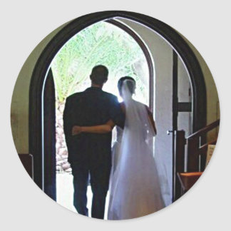 Just Married Couple Leaving Church Classic Round Sticker