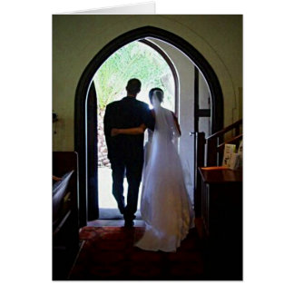 Just Married Couple Leaving Church Greeting Card